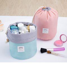 De haute Qualité En Forme de Tonneau Voyage Cosmétique Sac de Lavage de Nylon Sacs Maquillage Organisateur De Stockage Sac de Voyage Cosmétique Sac Haute Capacité