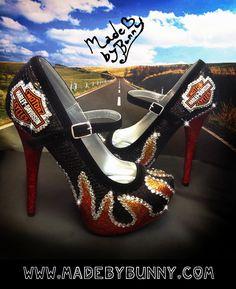 Harley Davidson inspired Flame Heels / Girl on Fire Hunger Game Glitter Bling Shoes www.madebybunny.com