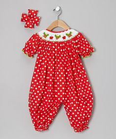 Take a look at this Red Caramel Candied Apple Bubble Playsuit & Bow Clip - Infant by Molly Pop Inc. on #zulily today!