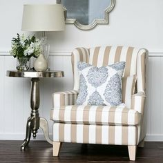 Imagine sinking into a beautiful armchair over the weekend and catching up on that cuppa with a good book! Just heaven! Meet our newest member to the HS Collection, the Azurest Wing Chair in beige stripe