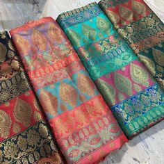 *Banarsi pure meenakari brocket available .💫* per mtr* Good Color Combinations, Cotton Saree, Fashion Boutique, Bohemian Rug, Fabrics, Pure Products, Traditional, Instagram, Tejidos