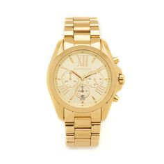 Michael Kors Bradshaw Chronograph Watch ($250) ❤ liked on Polyvore featuring jewelry, watches, gold, roman numeral jewelry, water resistant watches, chronograph watch, snap button jewelry and polish jewelry