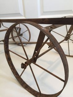 Vintage Amish Metal Wheel Wagon Pull Wagon, Vintage Garden Decor, Goods And Services, Amish, Vintage Items, Rustic, Metal, Glass, Table