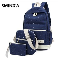 34.98$  Watch now - http://viqaq.justgood.pw/vig/item.php?t=hdyyemy18368 - Fresh Fashion Dot Printing Backpacks Students School Bags Women Backpacks Double
