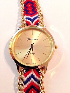 New Geneva Gold, Red, White, Blue Tribal Braided Tie Bracelet Watch  | eBay