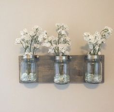 Mason jar organizer vases bathroom storage wall by PeavyPieces