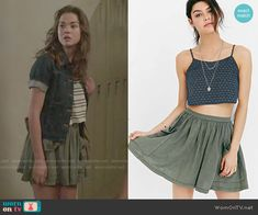 Callie's green front pockets skirt on The Fosters.  Outfit Details: http://wornontv.net/49983/ #TheFosters