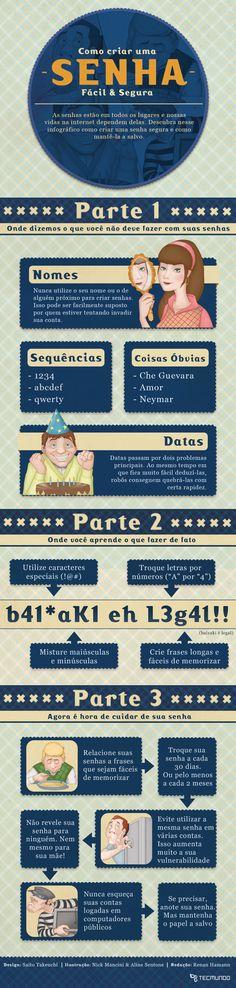 Como criar uma senha fácil e segura [infográfico]    Leia mais em: http://www.tecmundo.com.br/infografico/21311-como-criar-uma-senha-facil-e-segura-infografico-.htm#ixzz1qa1yl7Wz