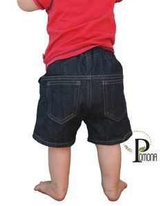 Project Pomona ECO Fit Adjustable Waist Denim Shorts for Cloth Diapers sz 1 3-9m
