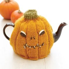 This spooky knitted pumpkin tea cozy is great for a Halloween tea-time surprise. It's simple to make, and the kids will love it!