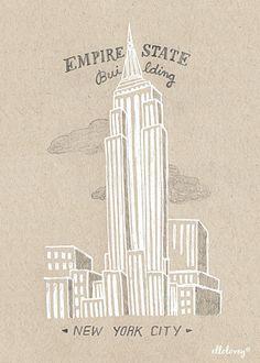 Empire State  New York  5 x 7 Art Print par ellolovey sur Etsy, $12.00