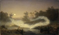 Huldufólk - Iceland's Belief in Elves by Carolyn Emerick. Image: Elves dancing over a lagoon at dusk. The Norse concept of Elves was often as Nature Wights, or protective nature spirits. Source: Painting by August Malmström, Google Art Project, All Nature, True Nature, Jules Cheret, Nature Spirits, Supernatural Beings, Asatru, Norse Mythology, Fairy Art