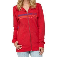 Roxy Juniors Cooling Wind Fleece, Lipstick Red, Medium High neck. Front and back screen graphic.  #Roxy #Apparel