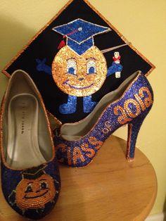 Rhinestoned Otto heels for graduation Graduation Cap Designs, Graduation Caps, Syracuse University, Go Big Blue, Orange Fashion, Graduate School, Cute Crafts, Pumps, Heels