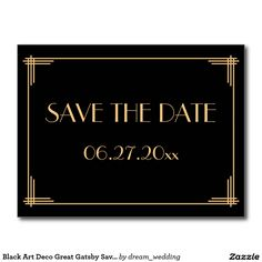 Black Art Deco Great Gatsby Save The Date Postcard