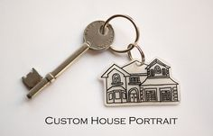 Handmade Custom Portrait Keyring of your house, perfect gift to new home owners, or just as a special memento to add to your keys.