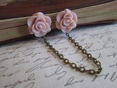 Sweater Clip from Etsy. Pink Rose Flower, Pink Roses, Fashion Sewing, Retro Fashion, Statement Earrings, Dangle Earrings, Cardigan Clips, Collar Clips, Upcycled Vintage