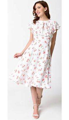 Unique Vintage 1940s White & Cherry Print Cap Sleeve Dixon Day Dress