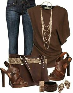 LOLO Moda: Stylish women outfits 2013 Brown and Denim look gorgeous together. Would like a shorter heel on shoes. Mode Outfits, Jean Outfits, Fall Outfits, Casual Outfits, Fashion Outfits, Womens Fashion, Fashion Trends, Ladies Fashion, Scarf Outfits
