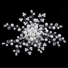 Stunning Pearl and Crystal Flower Spray Bridal Comb – UCHARMME.co.nz