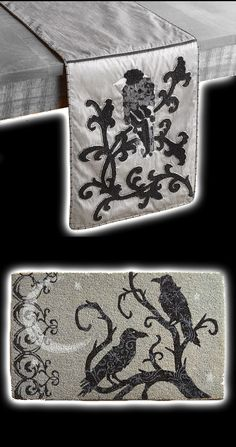Haunted Elegance Raven Table Runner and doormat. They are even the correct colour scheme! Beware the Birds! Black & White Theme Poe & Hitchcock Halloween Party Decorations & Ideas.  Add a touch of Gothic elegance to your Halloween table with our silver and black table runner with elegant swirls and an embroidered raven.