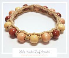 Boho Beaded Cuff Bracelet Pattern - https://oombawkadesigncrochet.com/2017/05/beaded-boho-cuff-bracelet-pattern.html