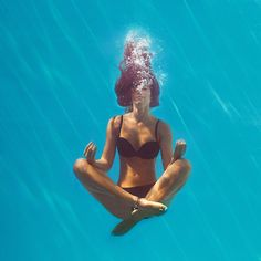 Any time I'm in water, I feel so relaxed. I loved living in the condo when my hubs and I were first married. We'd swim every night and I would just drift off to sleep. Mindfulness is about being in the moment and connecting your body, mind, and spirit. Although I don't think I'd be as relaxed as this lady if I was sinking to the bottom of the pool. Haha