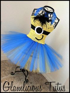 Minion tutu dress| despicable me tutu dress| Halloween Costume tutu dress| newborn-5T listing on Etsy, $20.00
