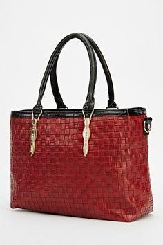 Basket Weave Maroon Handbag 58898a4f6a408