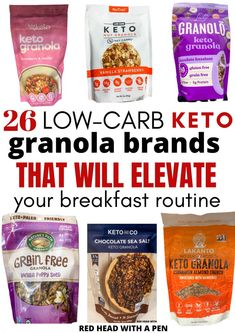 OMG! This is the ultimate guide of Keto friendly granola brands that you need to know about! Plus there's free printables! Keto Snacks To Buy, Good Keto Snacks, Granola Brands, Sweet Fat Bombs, Low Carb Cereal, Best Keto Breakfast, Organic Granola, Keto Granola, Gluten Free Grains