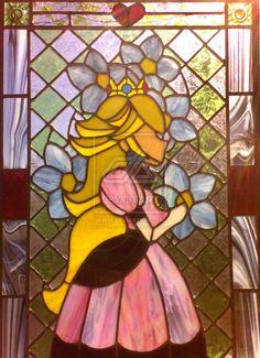 .:. Lovely Princess .:. by aishiteru-wa  Absurdly beautiful Princess Peach Stained Glass window!