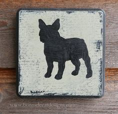French Bulldog Art Dog Silhouette Painting French by bonnielecat, $40.00