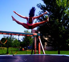 The splits with a toe touch, classic move!!! whats your favorite trampoline trick???
