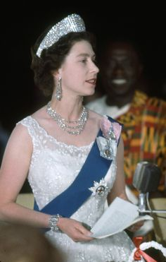 Not published in LIFE. Queen Elizabeth II speaking at a State Dinner in Ghana, 1961 See more photos here. (Paul Schutzer—Time  Life Pictures/Getty Images)
