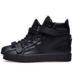 Giuseppe Zanotti Double Clasp High Sneaker (Matte Black)
