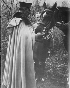 Kaiser Wilhelm II and his horse at the front, probably c. 1915.