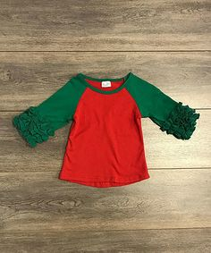 Loving this Red & Green Ruffle Raglan Tee - Infant, Toddler & Girls on #zulily! #zulilyfinds