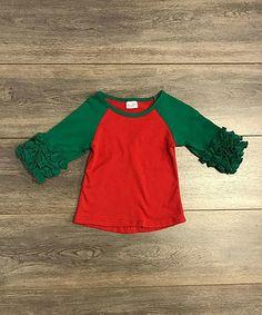 1987f5b4 Loving this Red & Green Ruffle Raglan Tee - Infant, Toddler & Girls