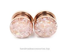Handmade Champagne Crushed Shell on Rose Gold Plugs 8g, 6g, 4g, 2g, 0g, 00g, 1/2in, 9/16in, 5/8in  Check It Out Now     $28.00    A pair of gorgeous champagne colored crushed shell plugs! The crushed shell (man-made) has the most beautiful shades  ..  http://www.handmadeaccessories.top/2017/03/17/handmade-champagne-crushed-shell-on-rose-gold-plugs-8g-6g-4g-2g-0g-00g-12in-916in-58in/