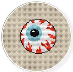 Buy 4 get 1 free,Buy 6 get 2 free,Counted Cross stitch pattern,Cross-Stitch PDF, Halloween Eyeball,zxxc0300. $4.50, via Etsy.