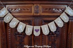 BuRLaP WeDDiNg BaNNeR - Damask & Heart CuSToM NaMe BaNNeR by lizzieandcompany