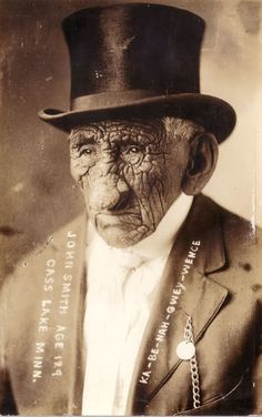 """The photo is a portrait of Ka-Be-Nah-Gwey-Wence, a Chippewa (Ojibwa) Indian from Cass Lake, reputed to be 129 years old at the time. It is said that he often spoke of the day when """"the stars fell"""", when he was a child of perhaps 7-10 years of age. If this event was indeed the famously strong Leonid meteor shower of 1833, this would mean he was actually almost 100 at the time of his death. I can forgive him for losing count."""