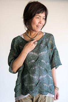 DanDoh Cotton Fine Forest Weave Pullover PDF Knitting Pattern
