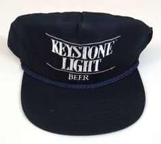 4c17b8addf3 Keyston Light Beer Baseball Cap Adjustable Blue and White Preowned Very  Clean