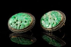 Antique Chinese Carved Green Jade Gilded Silver by SummitTreasures