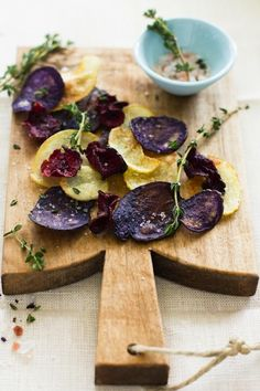Beet Chips with Thyme Rock Salt {will try a baked option}