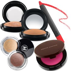 """If blue eye shadow isn't your thing, copper, champagne, or gold-toned metallics work just as well. """"They will really brighten up your eyes. Try using a cream shadow to get a little bit of a wet look and add just the right amount of shine,"""" says Charman, who recommends the Chanel Illusion D'Ombre shadows ($36 each; chanel.com). MAC's Mineralize Skinfinish Natural in Dark Golden ($32; maccosmetics.com) adds an ethereal, summery glow."""