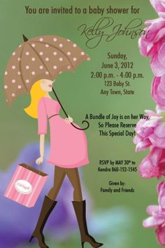 Custom modern day lady baby shower invitation with floral background. I design, you print.