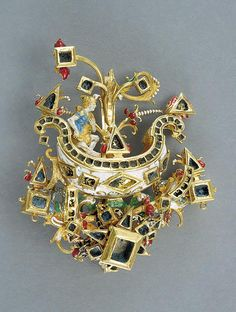 Mercurius shaped pendant, mid 17th century (presumably), Germany (presumably), gold, enamel, height: 8,5 cm