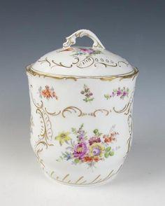 Antique DRESDEN Porcelain BISCUIT JAR German Franziska Hirsch Serving BB&B
